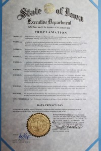 January 28 2014 Iowa Data Privacy Day Official Proclamation